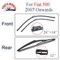 """Dianteiro e Traseiro Wiper blades para FIAT 500 (A Partir De 2007 em diante) 24 """"+ 14"""" fit botão tipo de braços do limpador limpar a brisa"""