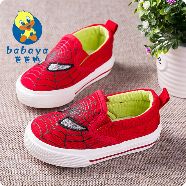2015 casual Autumn spider cartoon slip on soft canvas baby infant boys girls toddle child easy sneaker baby first walkers shoes