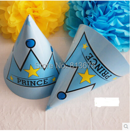1st Birthday Party Supplies Free Shipping Prince Themes Hats 6 Pcs Cone For Boys