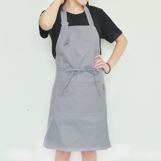 Adjule Canvas A With Pocket Solid Color Women S Kitchen Bib For Cooking Baking