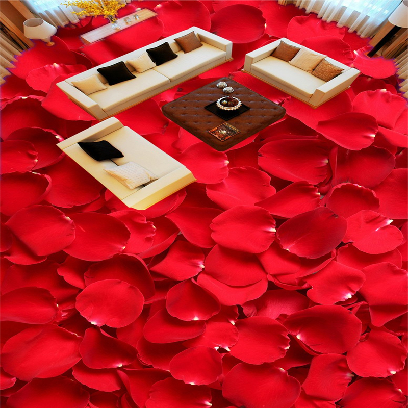 Beibehang red rose petals custom 3d flooring mural wall for Rose adesive