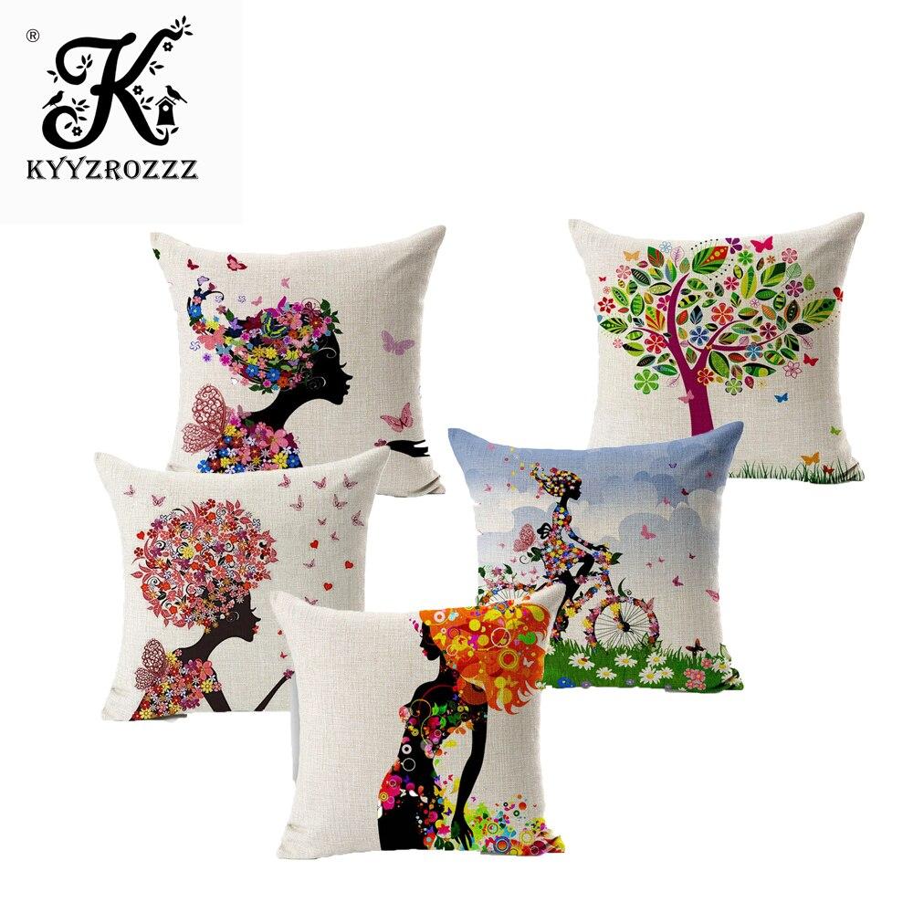 Charming Pattern Cushion Covers Cotton Linen Fashion Cushion Covers Decorative Chair Waist Squre Throw Pillow Cover Home Decor