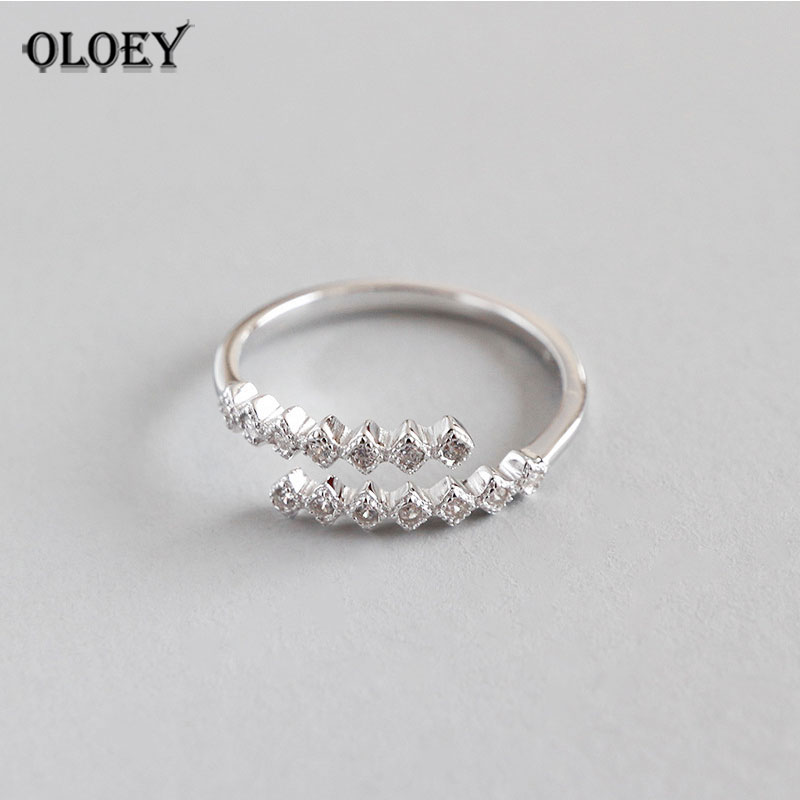 OLOEY Dual Line Clear Zircon Adjustable Rings For Women Genuine 925 Sterling Silver Rings Wedding Engagement Jewelry Gift YMR621OLOEY Dual Line Clear Zircon Adjustable Rings For Women Genuine 925 Sterling Silver Rings Wedding Engagement Jewelry Gift YMR621