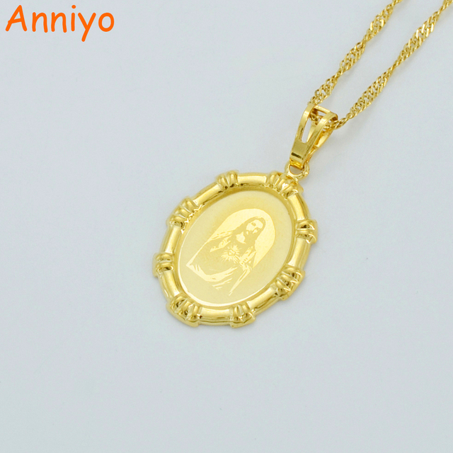 Anniyo jesus head pendant necklaces for womensgold color charm anniyo jesus head pendant necklaces for womensgold color charm jesus portrait pendant christian jewelry mozeypictures Gallery