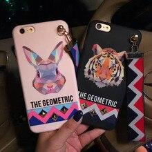 Zmasi Harajuku Геометрическая Тигр Орел заклепки чехол с Ремешок для iPhone 6 6S 7 7 Plus Лев Кролик Мягкий ТПУ Задняя принципиально крышка