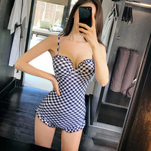 Hot New Sexy One pieces Sweet Swimsuit Push UP Shoulder Ruffly Swimwear Women BathingSuit Korean style Slimming Wetsuit M-2XL(China)