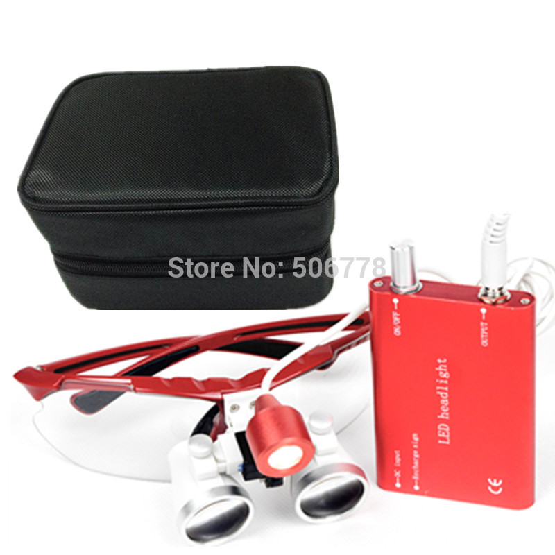 Dental Surgical Medical Binocular Loupes 3.5X and 2.5x Optical Glass Loupe+LED Head Light Lamp+Black case Five color for loupes