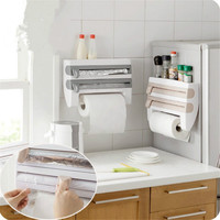 Dispenser Kitchen Aluminum Film Cutter Paper Towel Holder Wall Mounted Roll Dispenser Cutting Foil Cling Wrap Kitchen Storage Ra