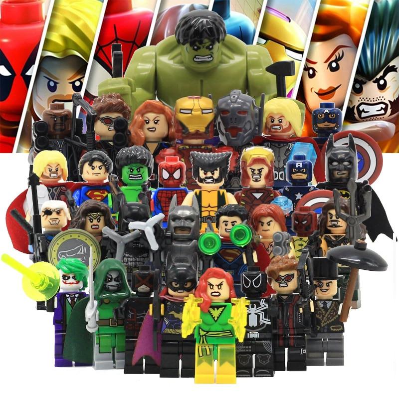 Avenger Super Hero Compatible with LegoINGly Marvel Building Blocks Batman Spiderman Civil War X-Men Hulk Iron Man Toys for Kid 8pcs lot movie super hero 2 avenger aochuang era kid baby toy figure building blocks sets model toys compatible with lego