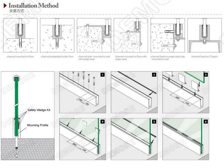 U Channel Veranda Aluminum Railing Terrace Glass Balustrade System Istanbul Turkey