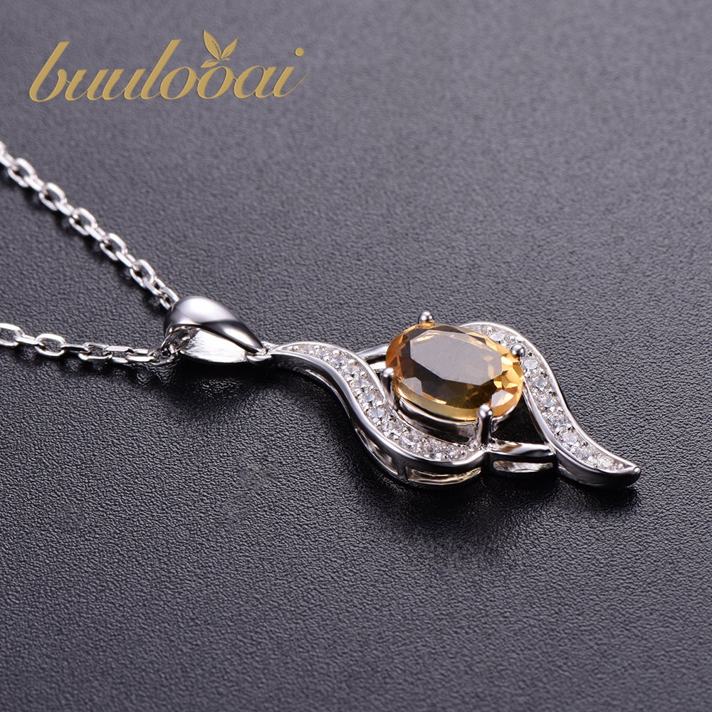 Elegant Natural Citrine Pendants For Woman 925 Sterling Silver Brand Fine Wedding Jewelry