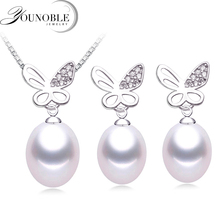Real Freshwater Pearl Jewelry Set,Mother Gifts White Trendy 925 Silver Pearl Necklace Earrings Sets Women new arriver pearl jewelry white color 4 16mm natural freshwater pearl rice biwa pearl necklace earrings jewellery set free ship