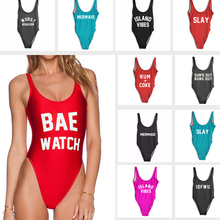 Sexy BAE WATCH High Cut Swimwear Women One Piece Swimsuit Letter Print Bathing Suit Monokini Beachwear Bodysuit ISLAND VIBES