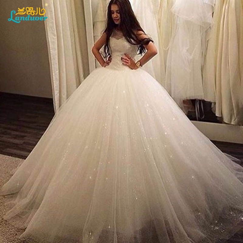 Lace up corset bodice Ball Gown Wedding Dresses Puffy Scoop sheer ...
