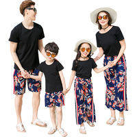 Summer Mom And Me Matching Clothes Dad Son Clothes Set Black T shirt+Flower Print Pant 2pc Kid Tracksuit Family Matching Outfit
