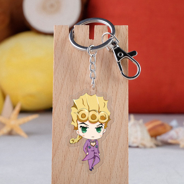 Anime JOJO Bizarre Adventure Keychain Cartoon Figure Acrylic Pendent Keyring 3