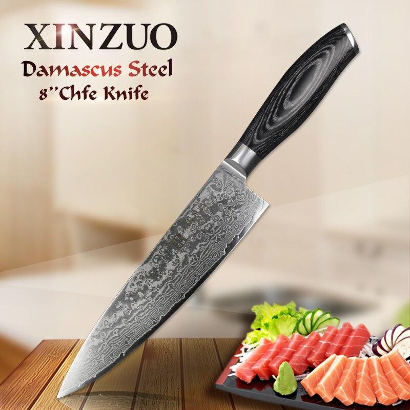 XINZUO 8 ''pouces Chef Couteau Gyutou Couteau Japonais VG10 Damas Couteaux de Cuisine En Acier Inoxydable Couteau De Boucher Pakka Manche en bois