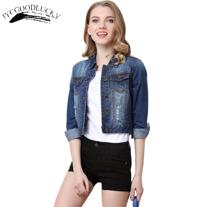 Basic     Jackets   Embroidery Fashion Women Autumn Denim   Jacket   2017 Coat Casual Jeans   Jackets   Female Plus Size Denim Clothing Women