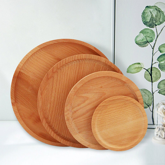 Hippo Home Natural Wood Dinner Plate Round Wooden Fruit Dessert Cake Storage Tea Coffee Tray Kitchen  sc 1 st  AliExpress.com : home dinner plates - pezcame.com