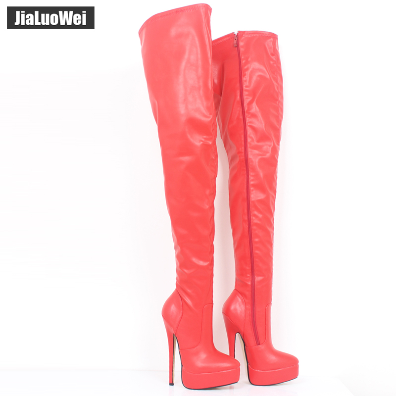 Jialuowei 7 Extreme High Heel Platform Women Fashion Sexy Fetish Zip Over the Knee Thin Heels Leather Unisex Boots jialuowei women sexy fashion shoes lace up knee high thin high heel platform thigh high boots pointed stiletto zip leather boots