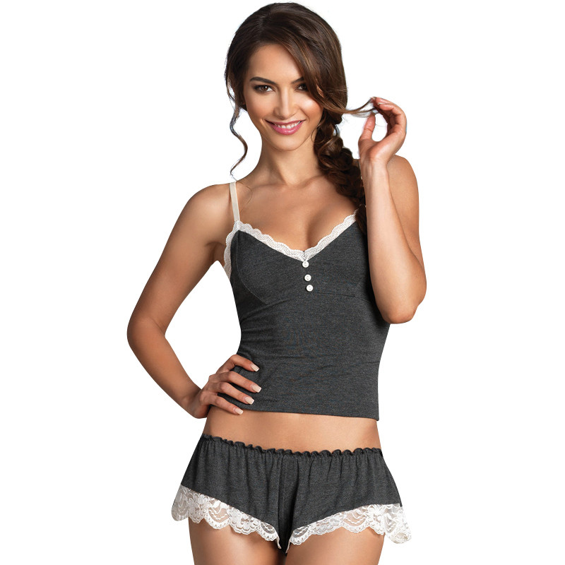 CINOON  Pijamas Camisole & Panties Sets V-Neck Cotton Bundle Pajamas Women's Sleepwear Spaghetti strap lace Underwear