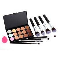 Pro 15 Color Camouflage Concealer Palette+ 8PCS Professional Makeup Cosmetic Brushes+ Sponge Puff