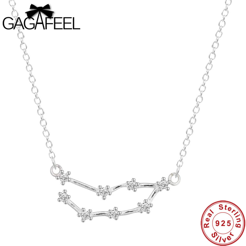 GAGAFEEL Trendy 12 Zodiac Signs Constellations 925 Sterlings Sliver Necklaces Women Jewelry Horoscope Gifts Accessories Dropship