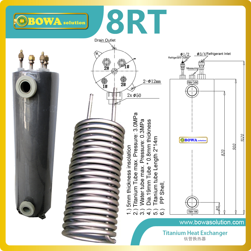 8RT Titanium heat exchanger is ideal for swimming pools with salt water or where a salt generator/chlorinator is used. 11kw heating capacity r410a to water and 4 5mpa working pressure plate heat exchanger is used in r410a heat pump air conditioner