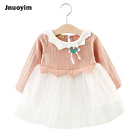Princes Girls Sweater Dress Cute Collar Design Children Clothes Autumn Long Sleeve Baby Tutu Dress Kids