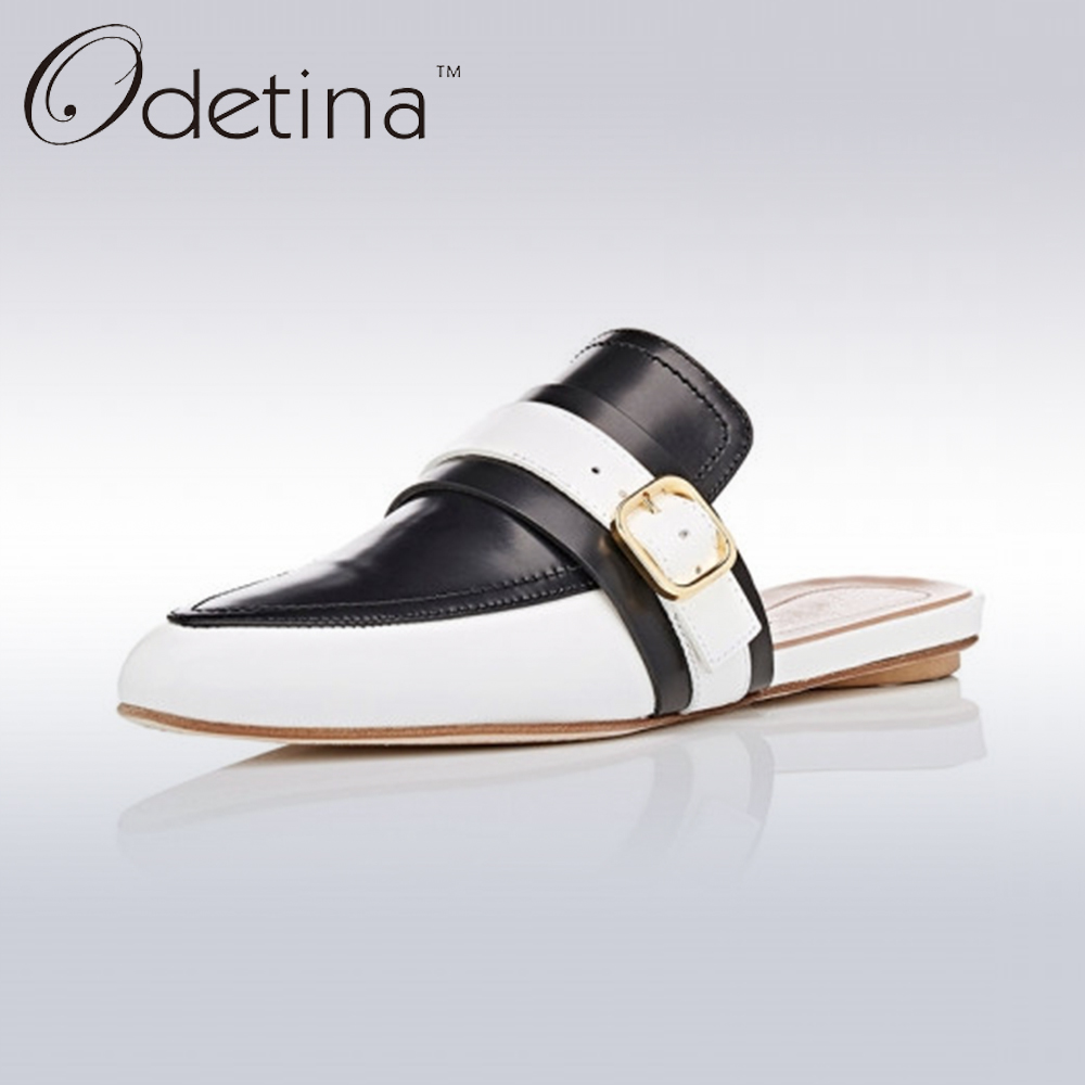 Odetina 2017 Brand Summer Genuine Leather Women Slingback Flat Shoes Pointed Toe Slip On Flats Buckle Half Slippers Ladies Mules meotina brand design mules shoes 2017 women flats spring summer pointed toe kid suede flat shoes ladies slides black size 34 39
