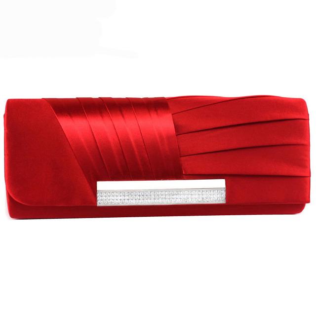 2017 Ladies Silk Evening Bag Fashion Bridal Wedding Satin Hand Bags White Party Purse Pink Red Black Day Clutch Chain XA303H