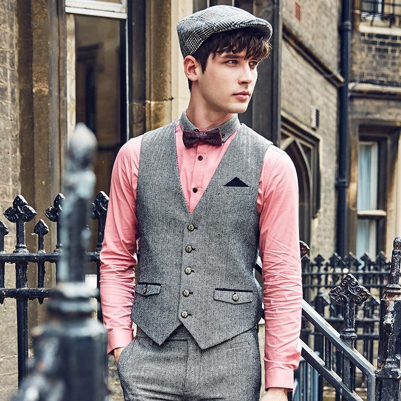 Suit Vest Classic Formal Wedding-Gilet Slim-Fit Waistcoat Men Retro Business-Causal Mens