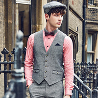 Brand Men Clothing Autumn Winter business causal Retro mens slim fit suit vest waistcoat men formal wedding gilet classic vest