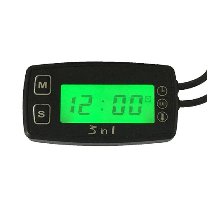 Digital Thermometer Voltmeter Clock temperature 3 IN 1 Meter Sensor for pit bike motorcycle snowmobile atv