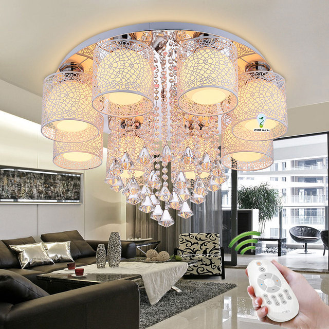2018 New Round Crystal Ceiling Light For Living Room Indoor Lamp With Remote Controlled Luminaria Home