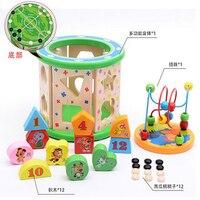 Детская деревянная большой многофункциональный большой бусы вокруг сундук с сокровищами блоки игрушка B089