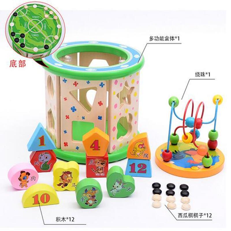 Children's wooden large multi-functional big beads around the treasure chest blocks toy B089 трусы finn the treasure