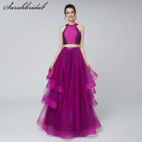 Charming Youthful Two piece Long Prom Dresses Purple Tulle A Line Sleeveless Back Zip Evening Gowns Halter Floor Length Hot 3172