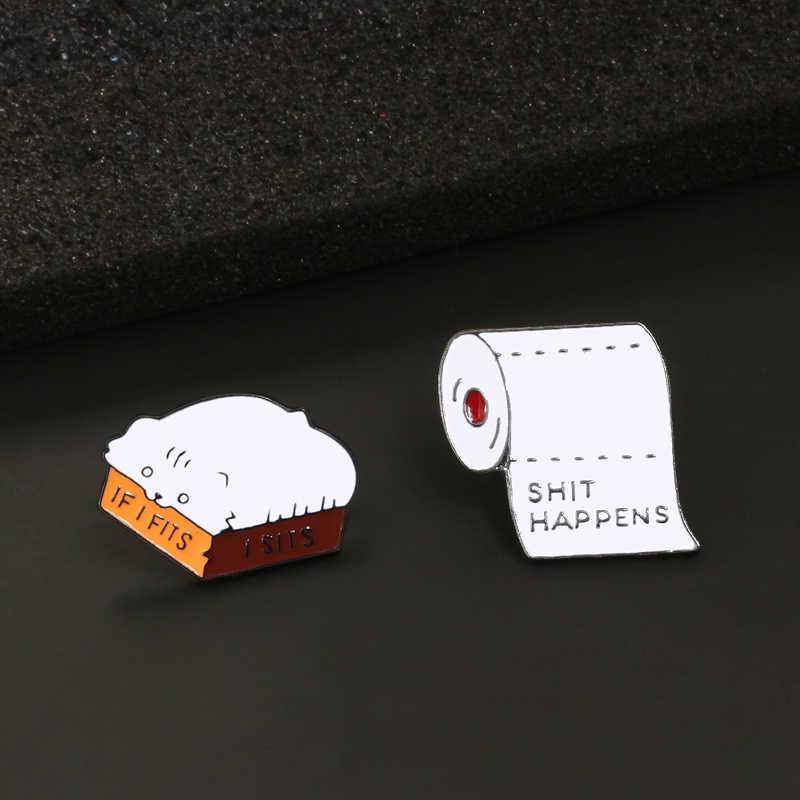 Vui Động Vật Trâm Cài ve áo pins giấy Cuộn Hộp Mèo Cà Phê Cup Huy Hiệu đồ trang sức Nút biểu tượng Áo Sơ Mi Denim Phụ Kiện phụ nữ trẻ em quà tặng