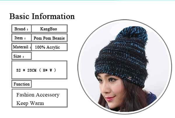 Women\'s Faux Fur Pom Pom Fleece Lined Knitted Slouchy Beanie Hat (8)