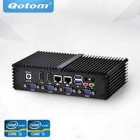 Бесплатная доставка Qotom мини ПК Celeron Core i3 i5 процессор, Dual Lan, 6 USB 6 COM RS232 RS485 безвентиляторный X86 киоск POS Компьютер
