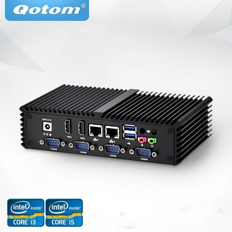 Livraison Gratuite Qotom Mini PC Celeron Noyau i3 i5 Processeur Double Lan, 6 USB 6 COM RS232 RS485 Fanless X86 KIOSK POS Ordinateur