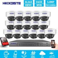 Güvenlik ve Koruma'ten Gözetim Sistemi'de 16ch 5MP POE Kiti CCTV Güvenlik 16ch NVR Desteği 8ch 4k Açık su geçirmez ip kamera Gözetim Onvif H.265 Monitör Sistemi