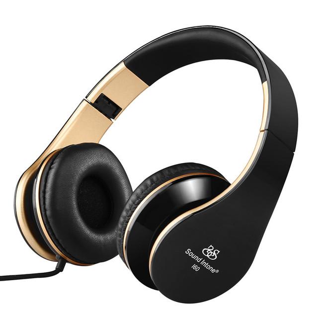 Sound intone i60 plegable auriculares con cable con micrófono y control de volumen estéreo bass auriculares para iphone xiaomi mi mp3 música