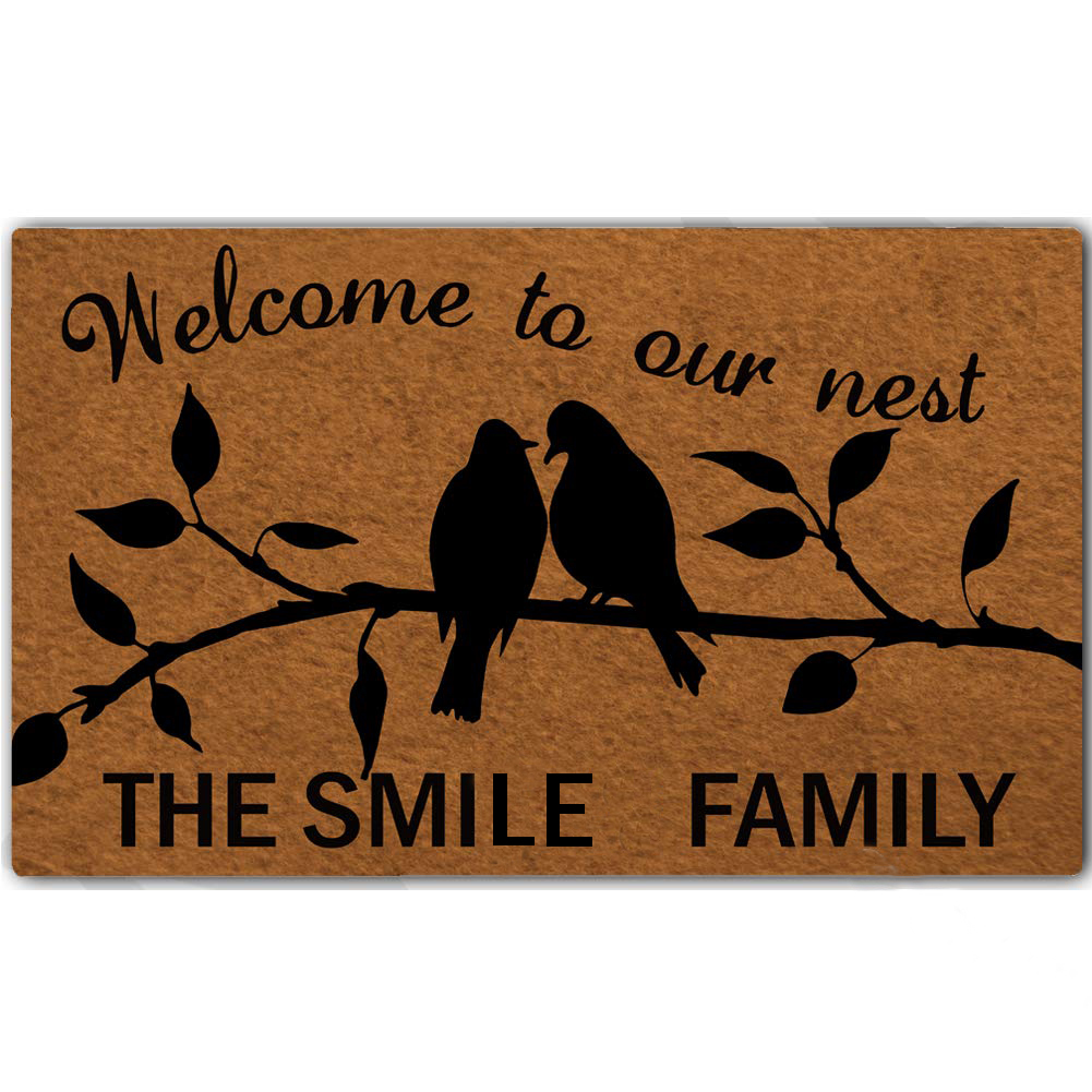 Custom Rubber Door Mat Welcome to Our Nest The Smile Family Door Mat Indoor Outdoor Decorative  Doormat