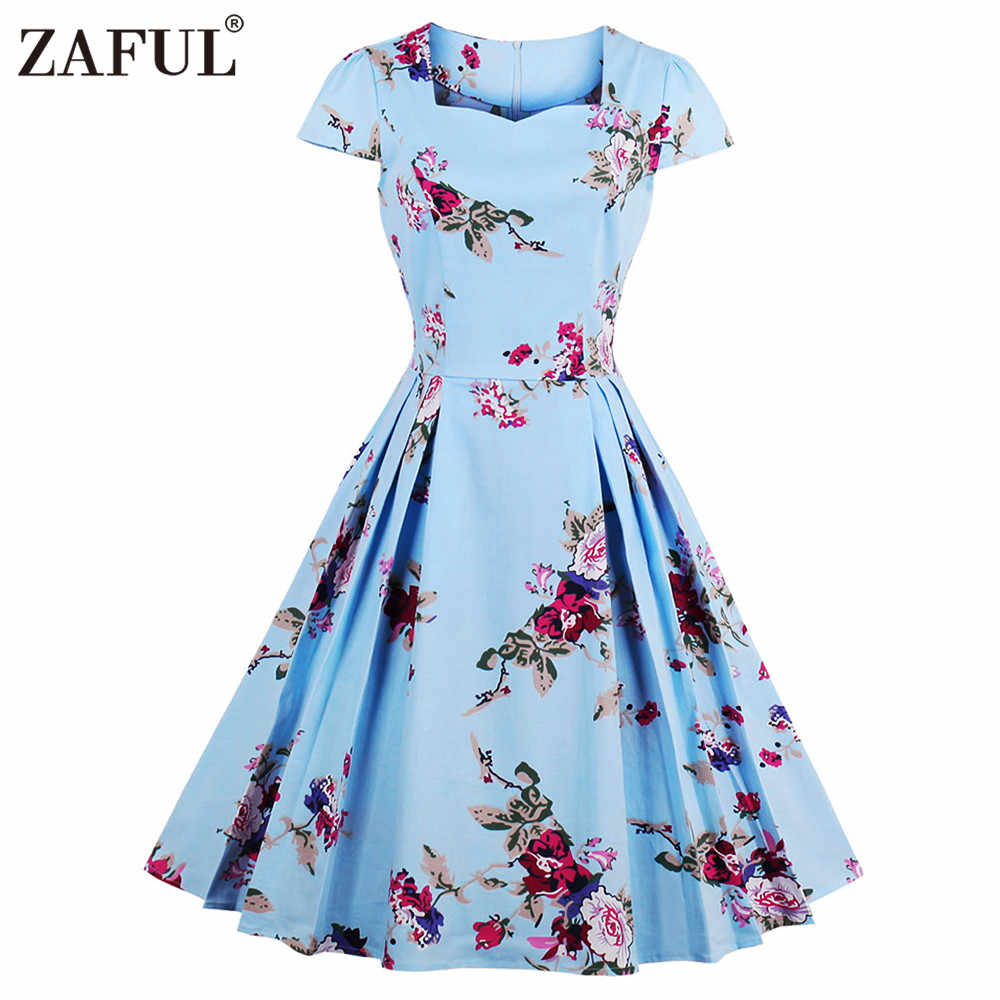 faab7cd9ee3a1 Joineles summer dress women plus size Audrey hepburn 50s Rockbility Floral  Print Vintage dresses Party Dress feminino Vestidos