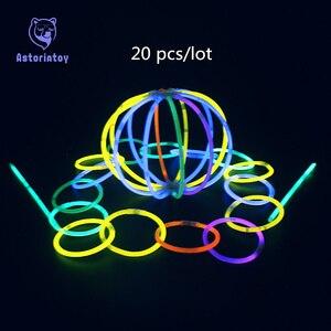 20 pcs Bastão de Luz Vara do Fulgor Seguro Colar Pulseiras Fluorescentes para Evento Festivo Do Partido Concert Decor LED Luminoso Brinquedos Festa