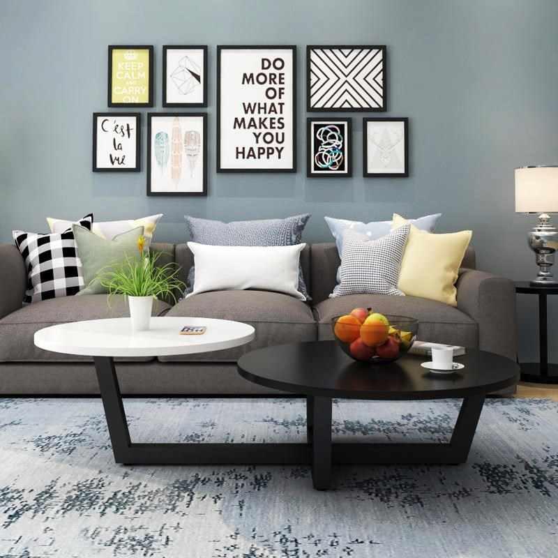 Нордическая современная простая модная настольная фойе креативная круглая форма Soild дерево черный белый желтый комбо двойные украшения для стола светильники для ресторана