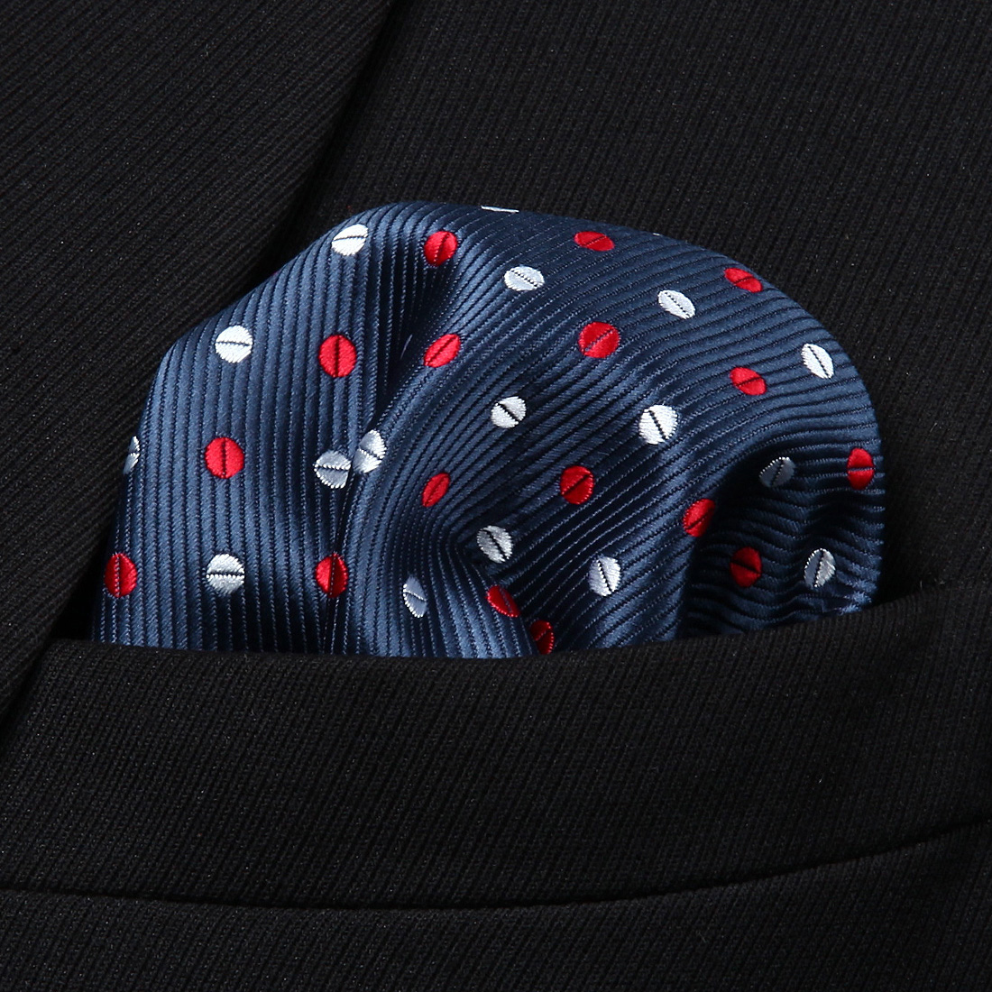 HD213V Navy Blue White Polka Dot Men Silk Party Handkerchief Pocket Square Hanky