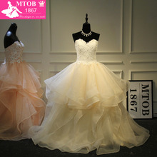 Stylish Sexy Sweetheart Champagne Wedding Dresses Lace Beading Layered Ruffle Skirt Robe De Mariage Acutaul Images MTOB1793
